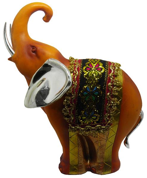 Elefante Indiano Estatueta Para Enfeite e Decoraçao Laranja Avermelhado Tromba Levantada (5025)