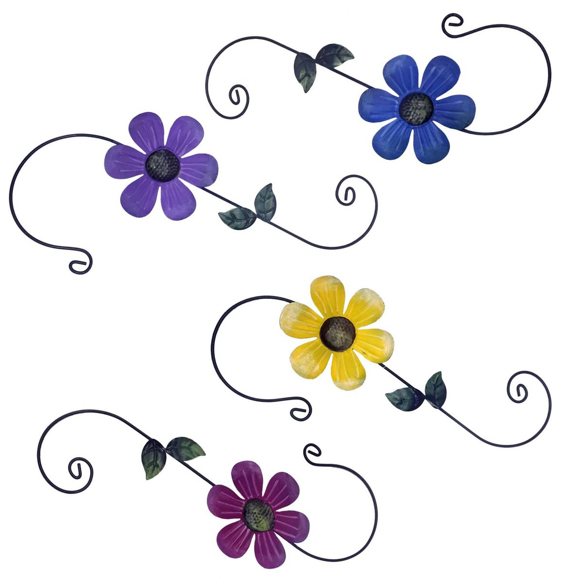 Enfeite de Metal Para Jardim Casa Quintal Flor Para Pendurar Cor Variada 4 Unid