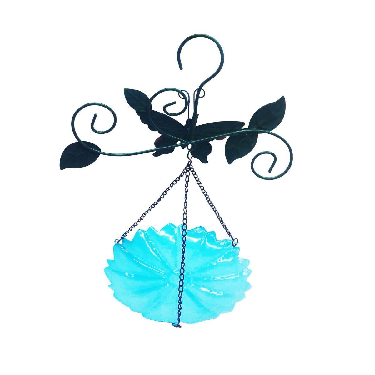 Enfeite Jardim Casa Quintal Flor Borboleta Para Pendurar Conjunto Com 3 Azul (JARD-45)