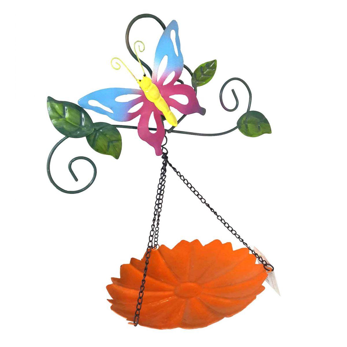 Enfeite Jardim Casa Quintal Flor Borboleta Para Pendurar Conjunto Com 3 Laranja (JARD-45)