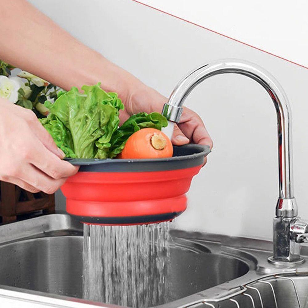 Escorredor Silicone Vermelho Macarrao 30 Cm Vapor Legumes Dobravel Verduras