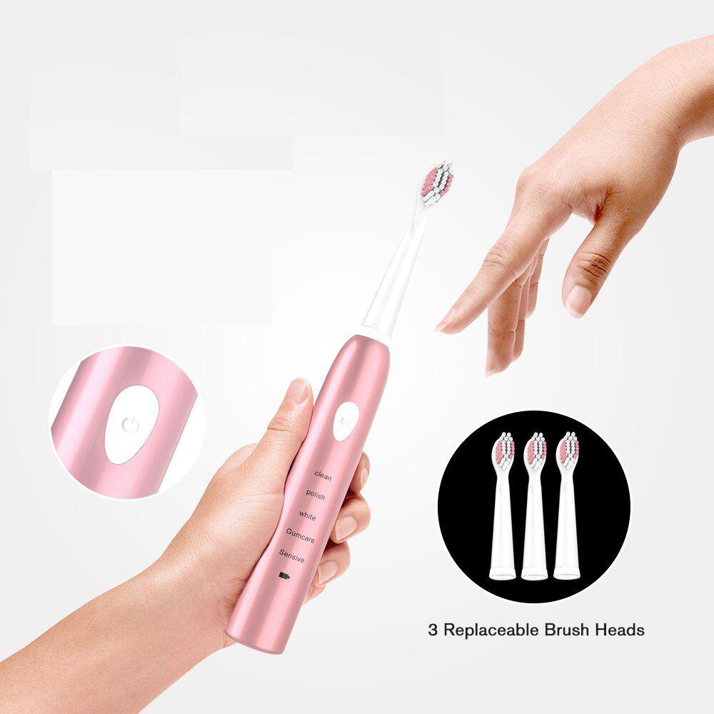 Escova de Dente Eletrica Recarregavel USB Refil Rosa Saude Bocal Dental