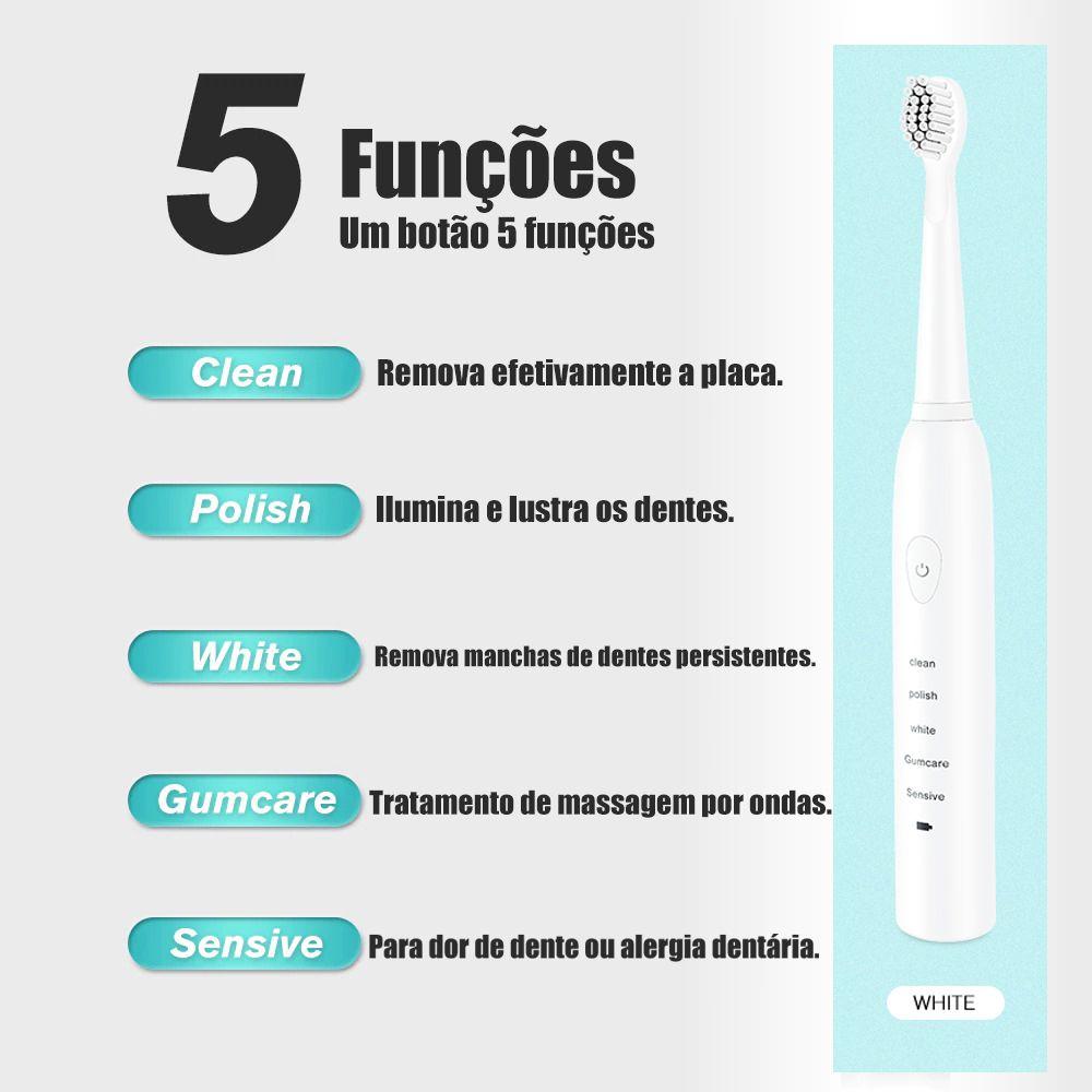 Escova de Dente USB Refil Recarregavel Eletrica Dental Branco Higiene Bucal