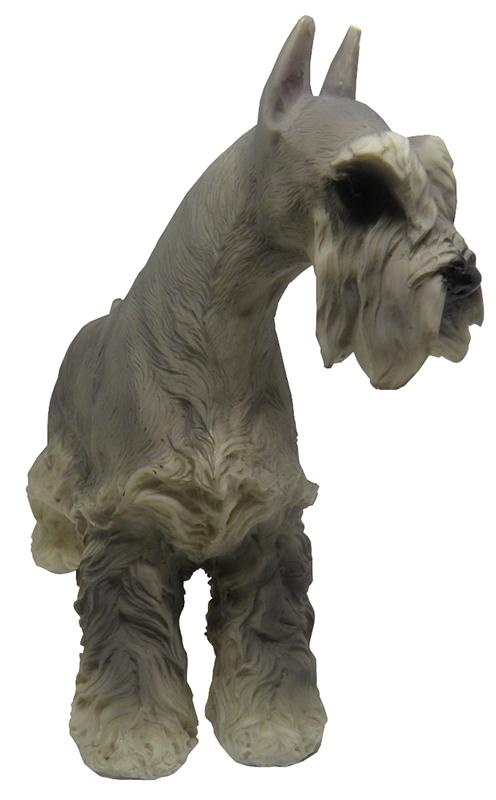 Escultura de Cachorro em Miniatura de Resina Decoraçao Schnauzer