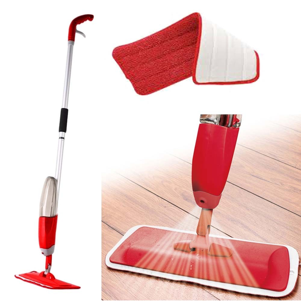 Esfregao Mop de Limpeza Com Dispenser Healthy Spray Esguicha Agua Vassoura Vermelho (Healthy Spray / 88131)