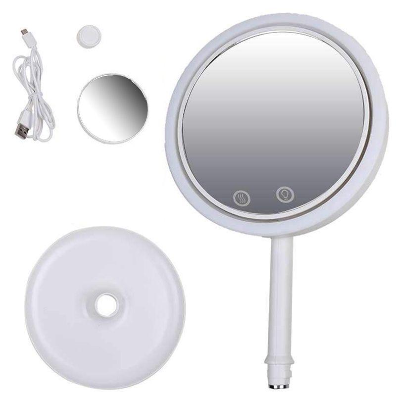 Espelho Maquiagem  Led Ventilador 5x Aumento Iluminador Touch USB Beleza