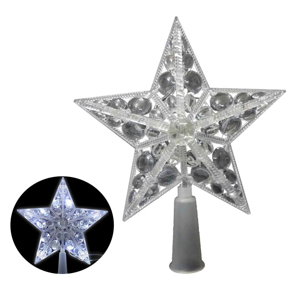 Estrela Pisca Pisca 10 Leds Branca Ponteira Enfeite Natalino Arvore de Natal