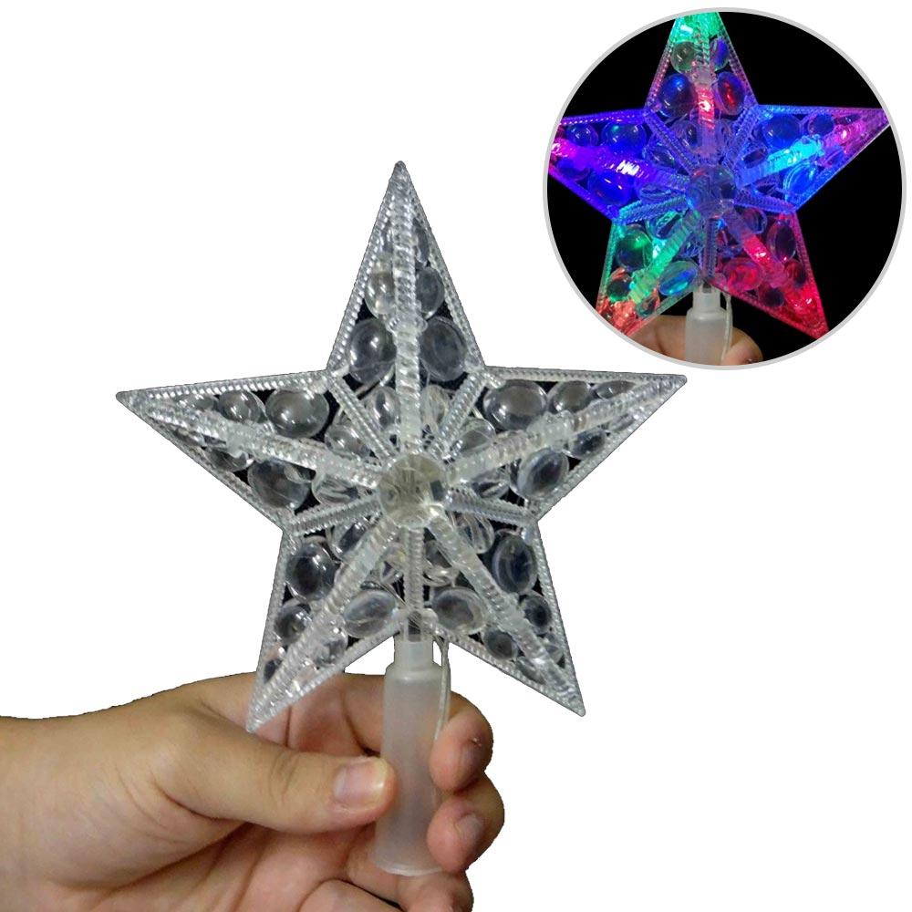 Estrela Pisca Pisca 10 Leds Colorida Ponteira Arvore de Natal Enfeite Natalino (JA-81120)