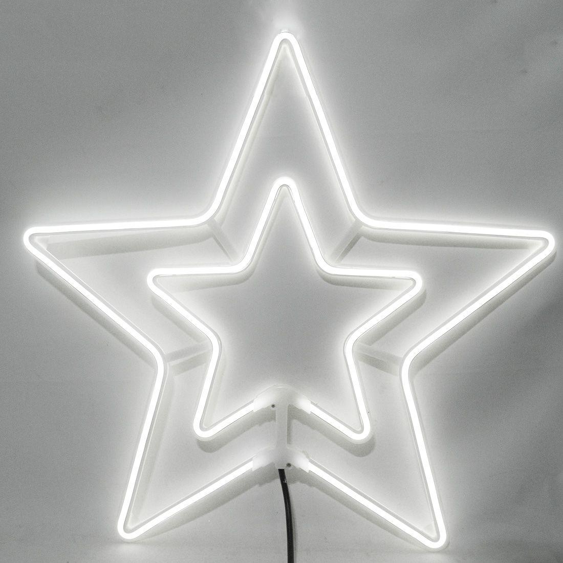 Estrela Pisca Pisca Natal Neon Natalino 8 funcoes Branco 6000k Decoracao Enfeite