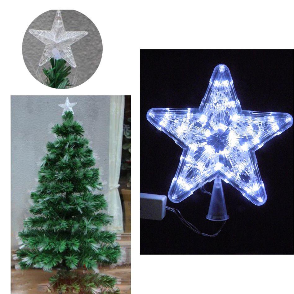 Estrela Pisca Pisca Ponteira Branco Led 8 funcoes Arvore de Natal Natalino