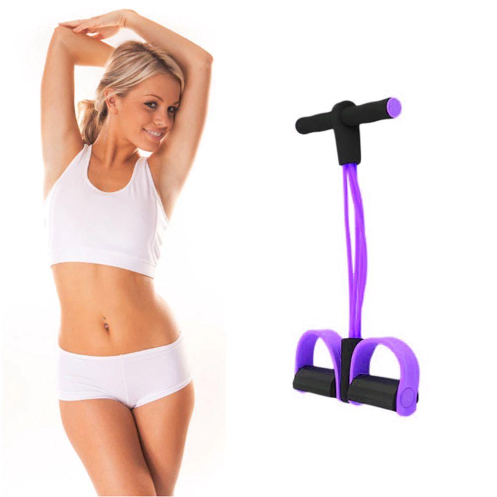 Extensor Para Exercicio Fisico Ginastica Elastico Academia resistência 4 tubos Roxo