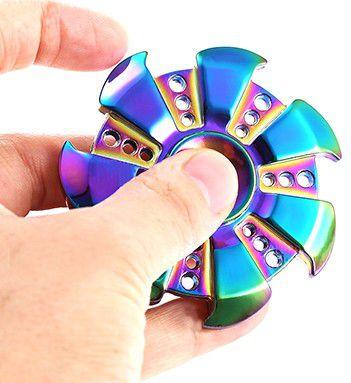 Fidget Hand Spinner Rainbow De Ferro Cromado Ansiedade
