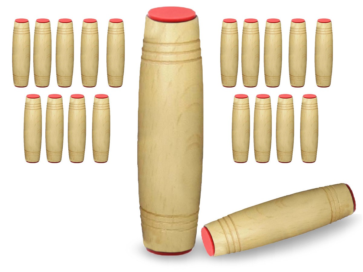 Fidget Mokuru Stick Bastao Roller Anti Stress Madeira Kit com 20 Unidades (bsl-gira-4 mokuru kit-20)