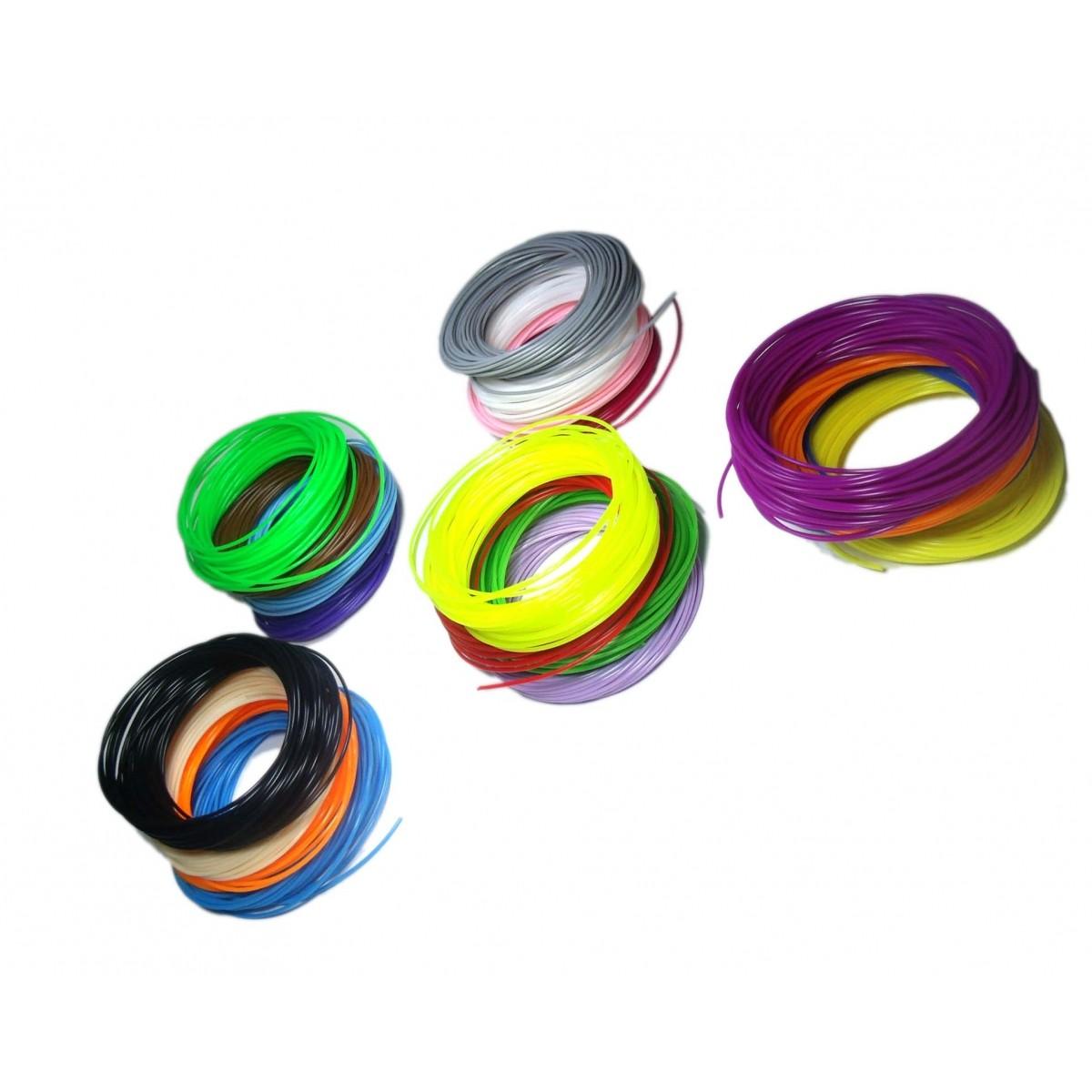 Filamento Para Caneta 3d e Impressora Pla Suprimento Material Carga Rolo 10m Refil Espessura 1.75mm Kit 20 Unid (BSL-HEL-7)
