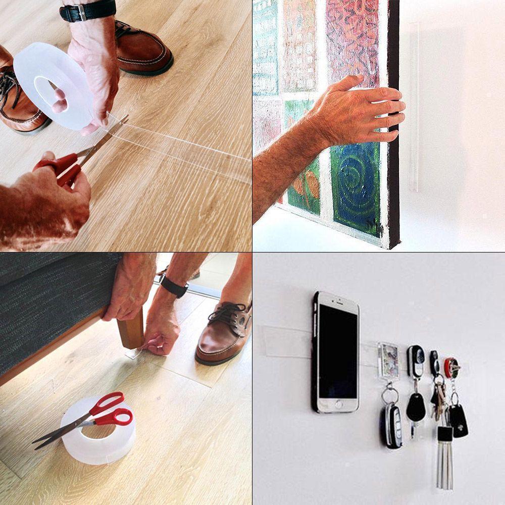 Fita Adesiva Dupla Face Nano PU Gel 1 metro Transparente Casa