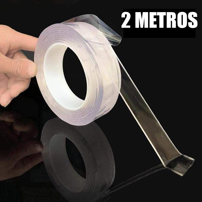 Fita Adesiva Dupla Face Transparente Nano PU Gel 2 metros Casa