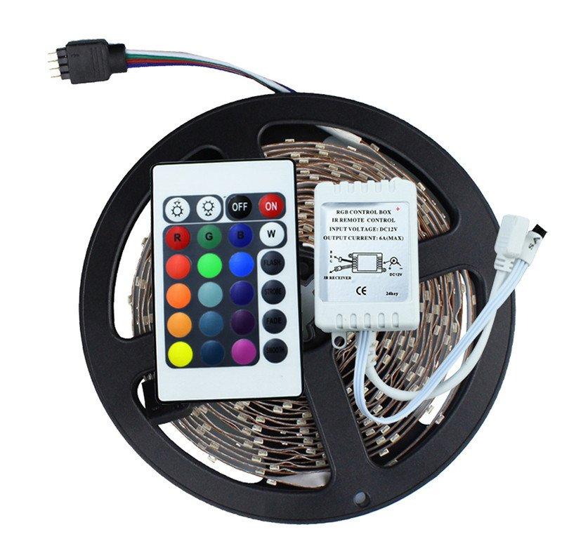 Fita De Led Rgb 5 Metros Natal Iluminacao Com Controle Luz Enfeite Ornamentacao 127v (JA80514)