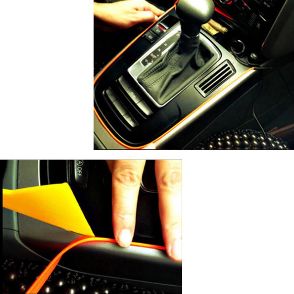 Fita Fio Neon 12v Carro 5 metros Led Automotiva Flexível Isqueiro Laranja
