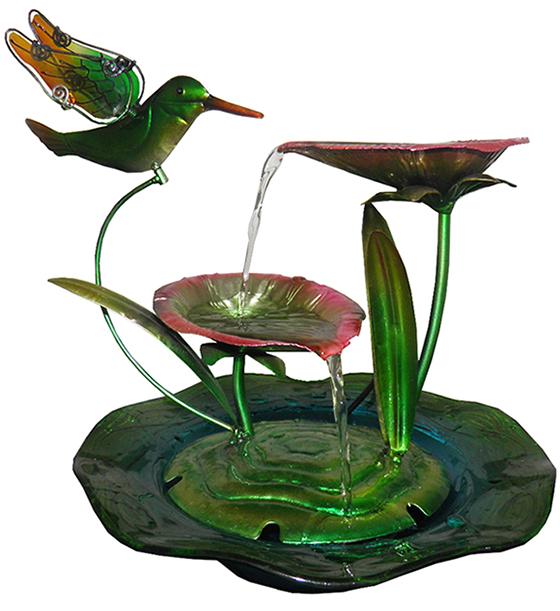 Fonte de Agua Cascata Decorativa Grande de Metal Flores Beija Flor para Jardim Casa Verde (FT-L)