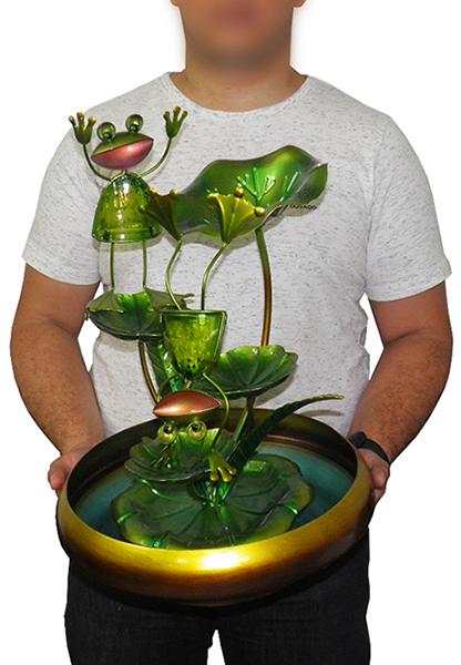Fonte De Agua Cascata Decorativa Grande de Metal Sapo para Jardim e Casa Dourada (FT-P)