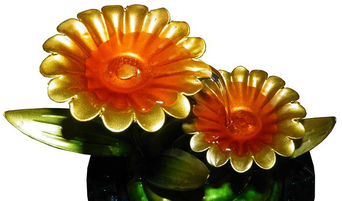 Fonte De Agua De Metal Cascata Decorativa Flores Amarelas para Jardim Casa (FT-R )
