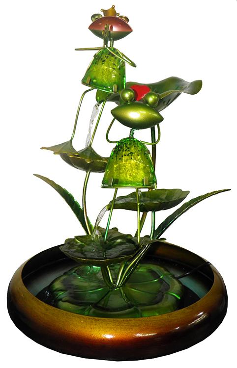 Fonte De Cascata com Agua Decorativa Grande de Metal para Jardim Sapo com Coração e Coroa Dourada (FT-O)