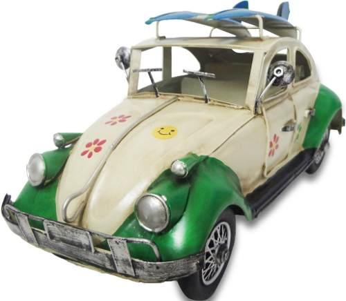 Fusca De Ferro Fundido Vintage Retro Surf 30cm Verde (CJ-001)
