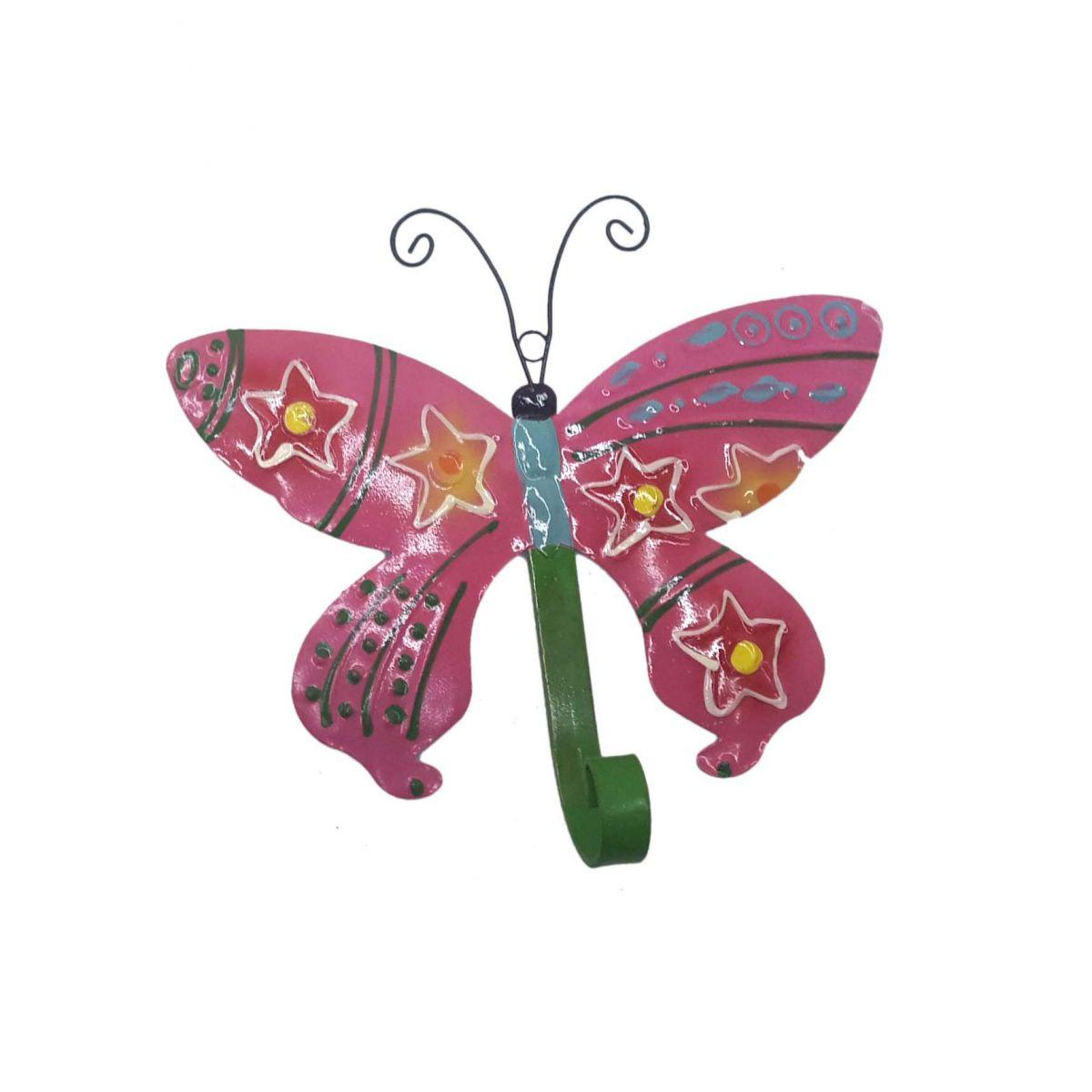 Gancho Para Chapeu Bolsa Bone De Ferro Borboleta Enfeite Pendura Rosa Com 3 Unid
