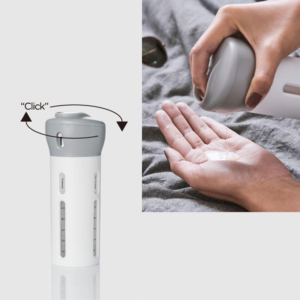 Garrafa Dispense Portátil 4 Em 1 Alcool Gel Cremes Shampoo Cinza Viagens Loção