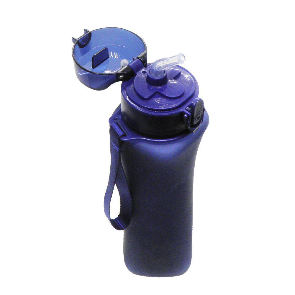 Garrafa Squeeze Azul Bico de Silicone Alça 600ml Academia Trava