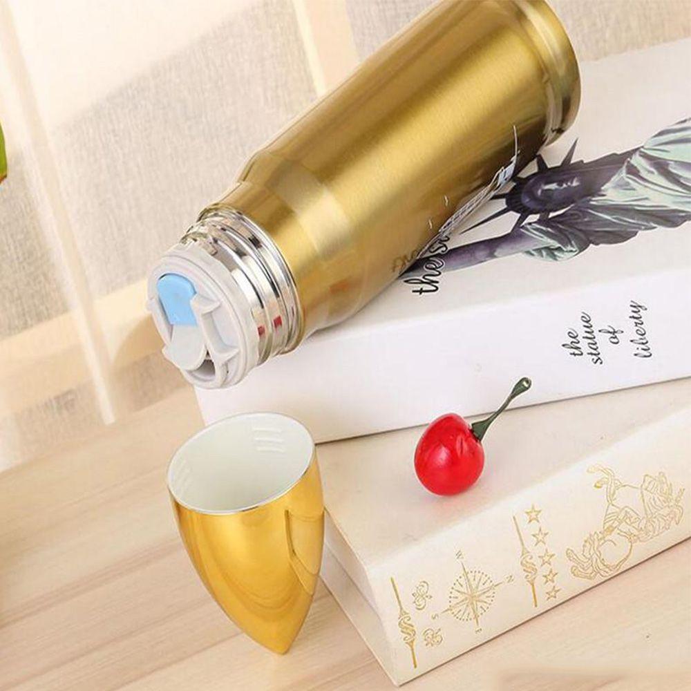 Garrafa Termica Inox 500ml Bala Projetil Capsula Dourada