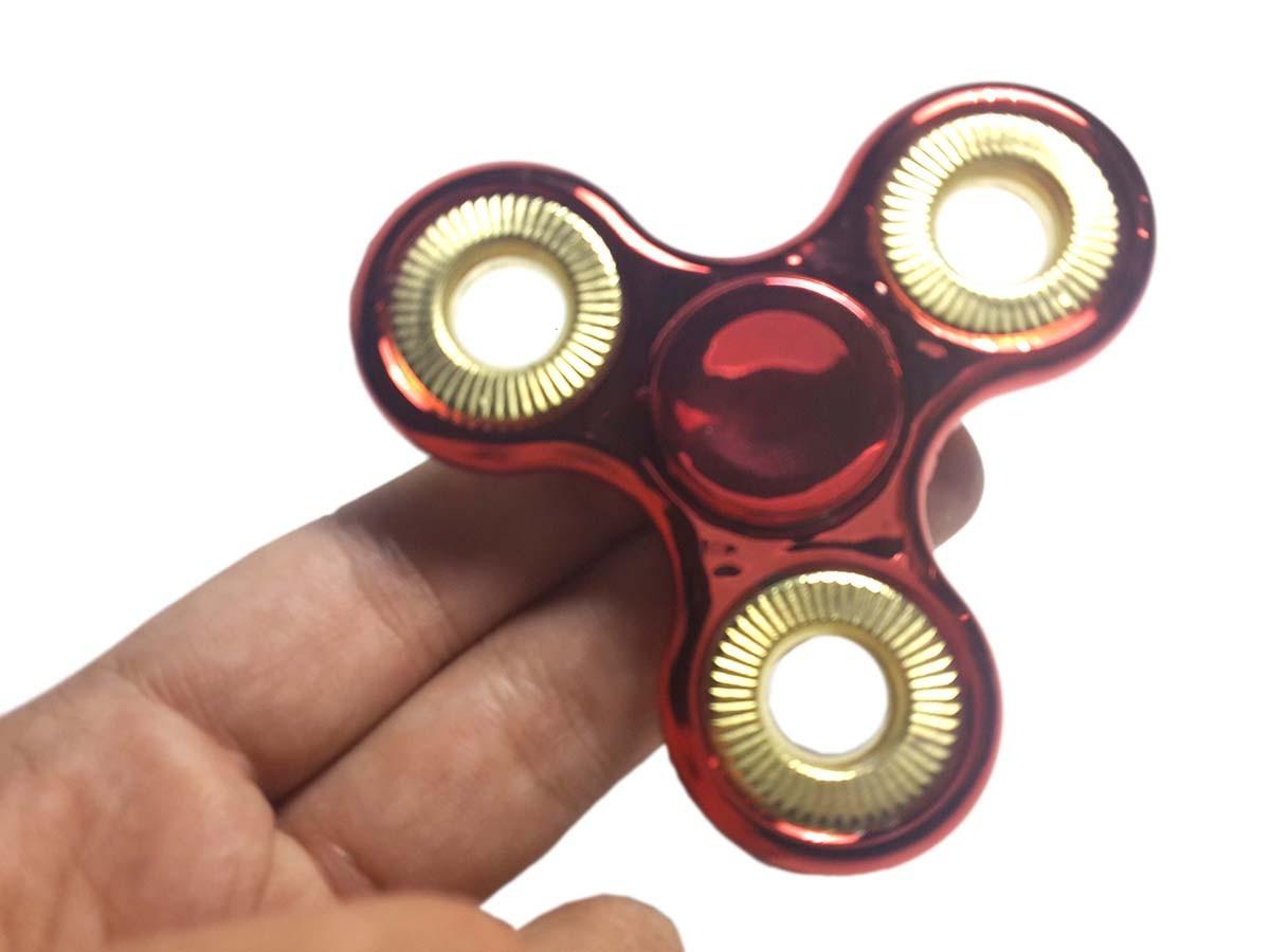 Hand Spinner Fidget de Metal Ansiedade Anti Estresse Ansiedade Cromado Cor Vermelho (bsl-gira-1-metal)