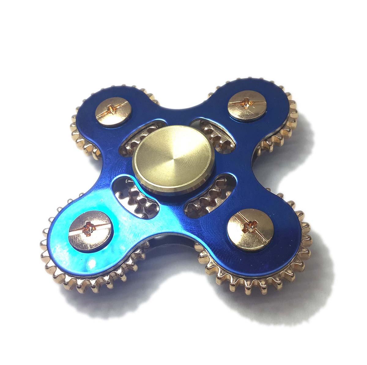 Hand Spinner Fidget De Metal Com Engrenagem Gira Ansiedade Estresse Brinquedo Cor Azul (bsl-gira-11)