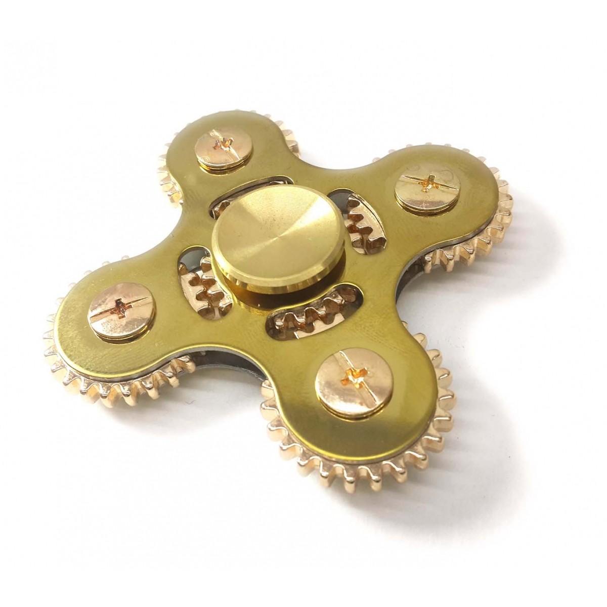 Hand Spinner Fidget De Metal Com Engrenagem Gira Ansiedade Estresse Brinquedo Cor Dourado (bsl-gira-11)