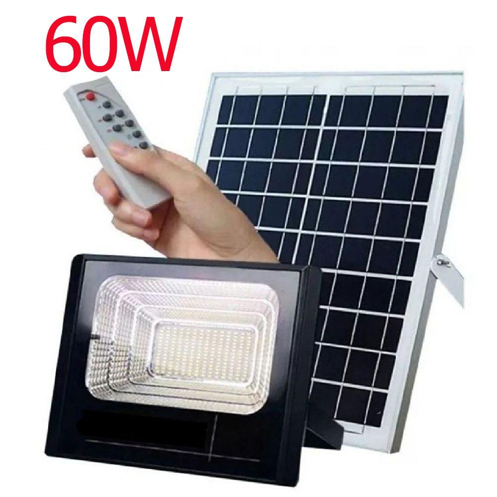 Holofote Led Refletor 60w Energia Solar Sensor kit Controle Remoto Iluminacao Luminária bateria
