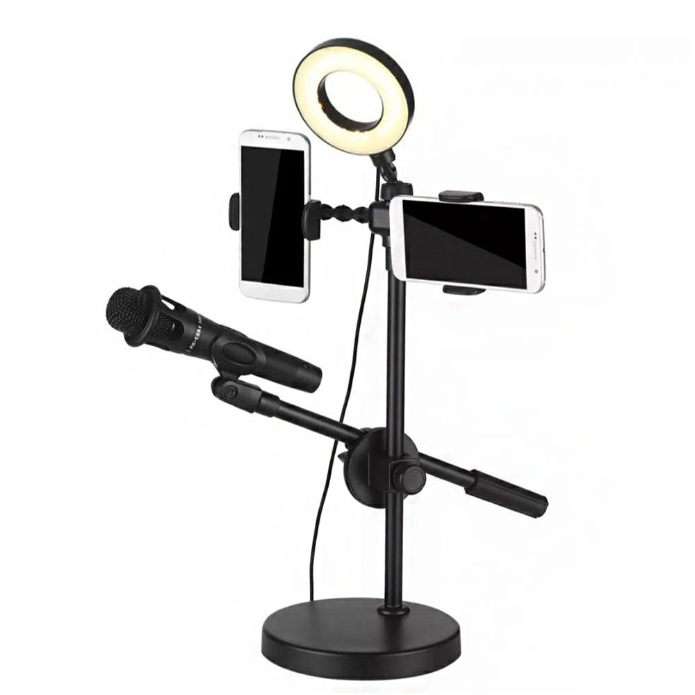 Iluminador Ring Light LED Duplo Suporte Celular Microfone Youtuber Profissional Foto Video Live Anel Luz