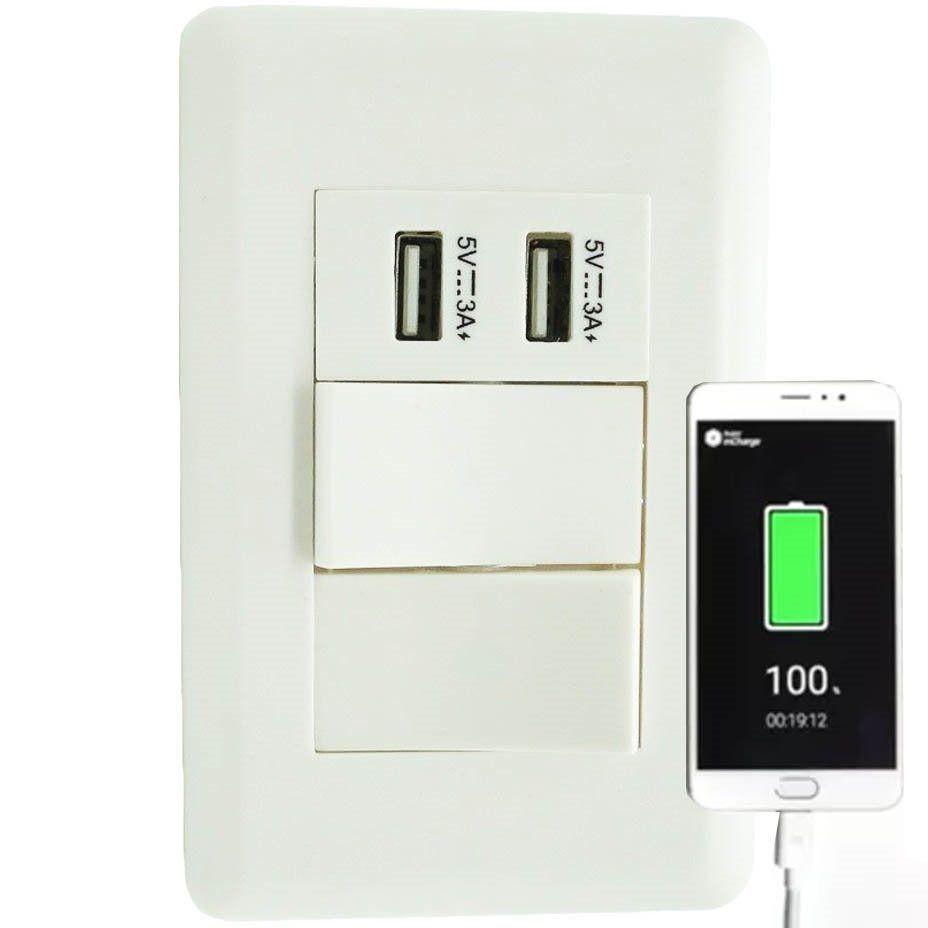 Interruptor Duplo Com 2 Entradas Usb Celular Parede Adaptado