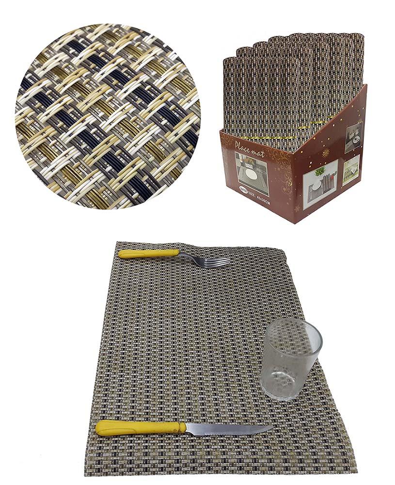 Jogo Americano Para Mesa De Jantar Box Com 36 Unidades Creme Dourado Preto (JMA-D)