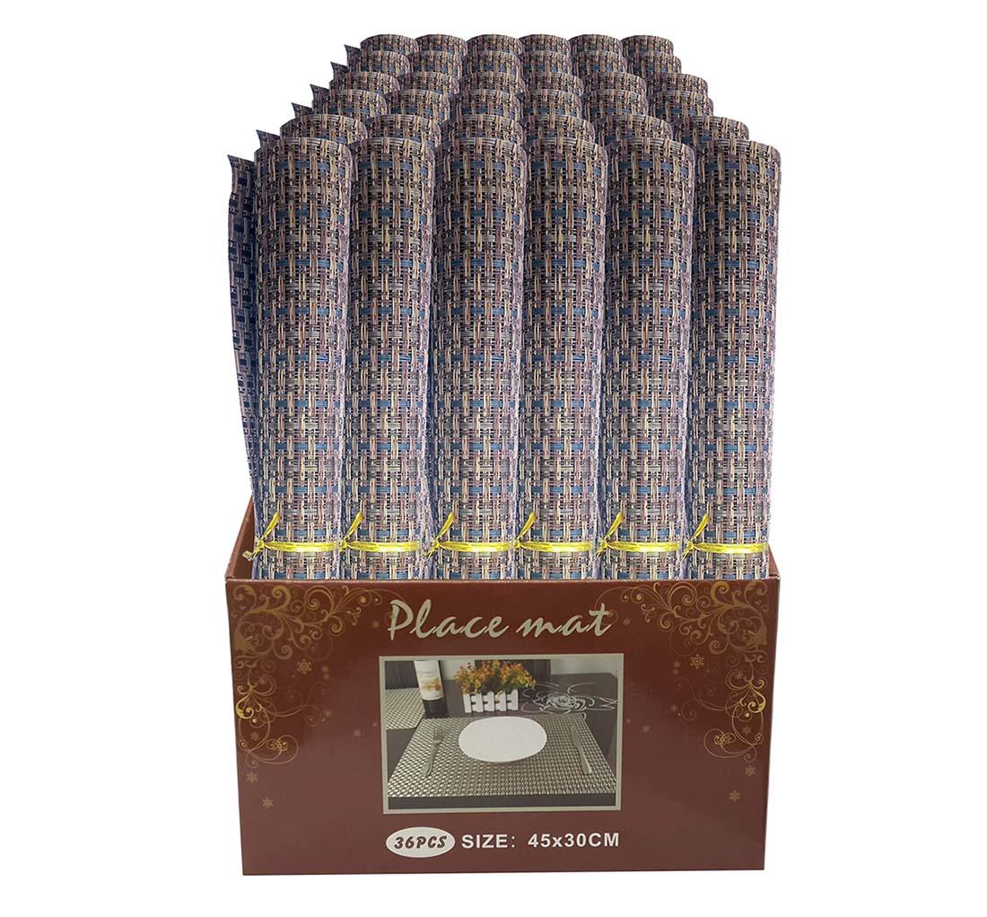Jogo Americano Para Mesa De Jantar Box Com 36 Unidades Palha Azul (JMA-D)