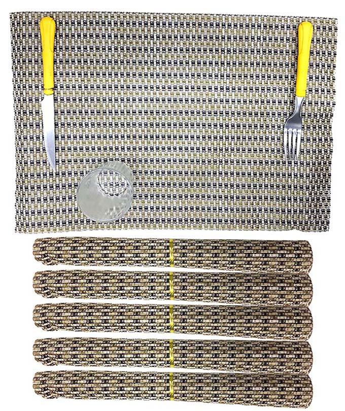 Jogo Americano Para Mesa De Jantar Kit Com 6 Unidades Creme Dourado Preto (JMA-D)