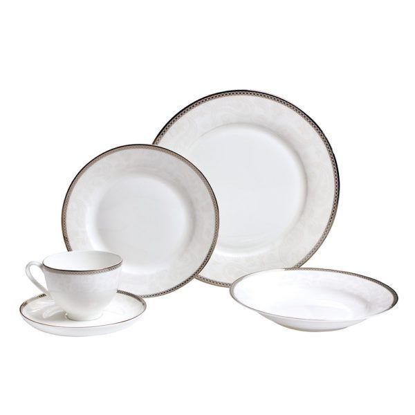 Jogo De Jantar 30 Pecas Cozinha Porcelana Xicara Pires Prato (DMP5206)