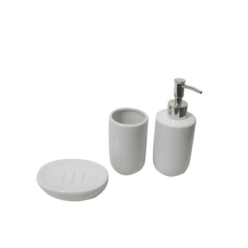 Jogo Para Banheiro 3 Peças Saboneteira Porcelana Liquido Copo Sabonete
