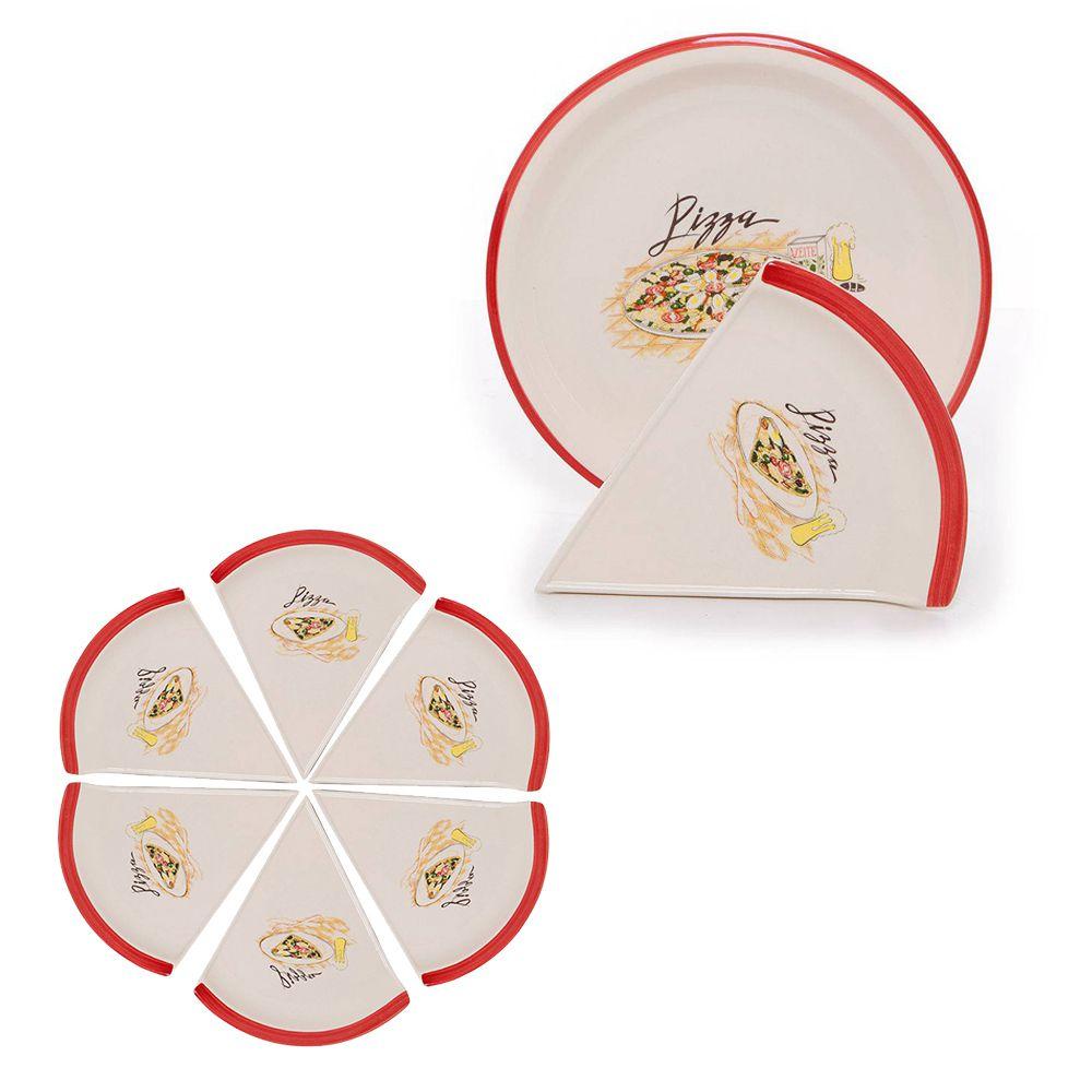 Jogo Pratos Kit 7 Peças Ceramica Porta Pizza Decorado Pizzaria