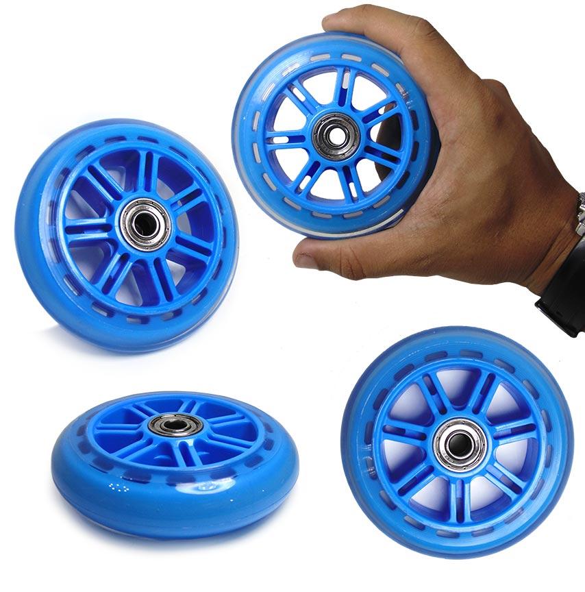 Kit 04 Rodas de Patins Patinete Rodinhas Azul Rolamento Abec 7 (RA-C)