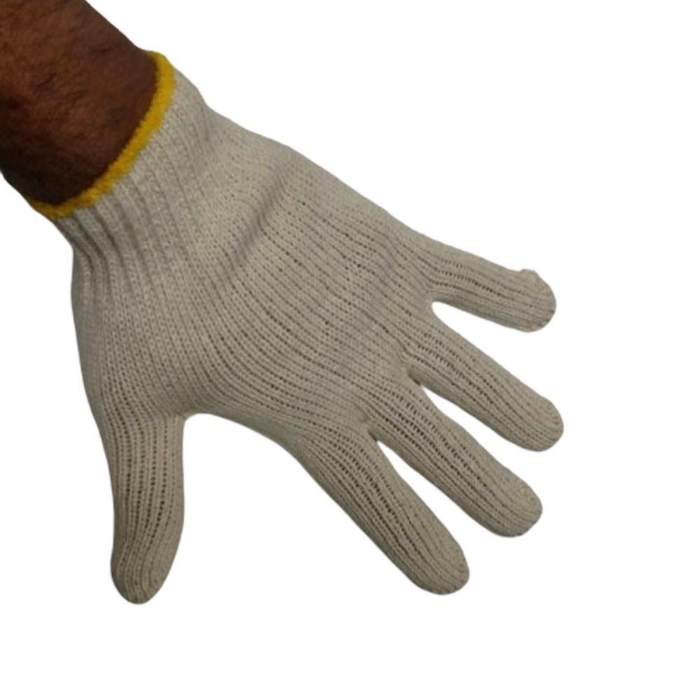 Kit 10 Pares Luvas de Malha Tricotada EPI Construçao Obras Proteçao Segurança Frio Reforçada