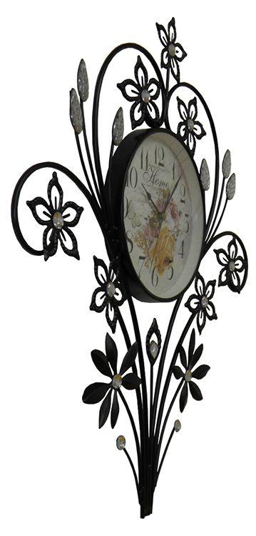 KIT 2 UNI Relogio De Parede Vintage Retro Com Flores de Strass Para Decoracao