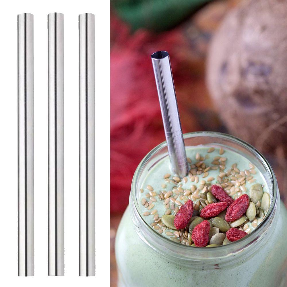 kit 3 Canudos Metal Inox Milk Shake Reutilizaveis Eco 12mm