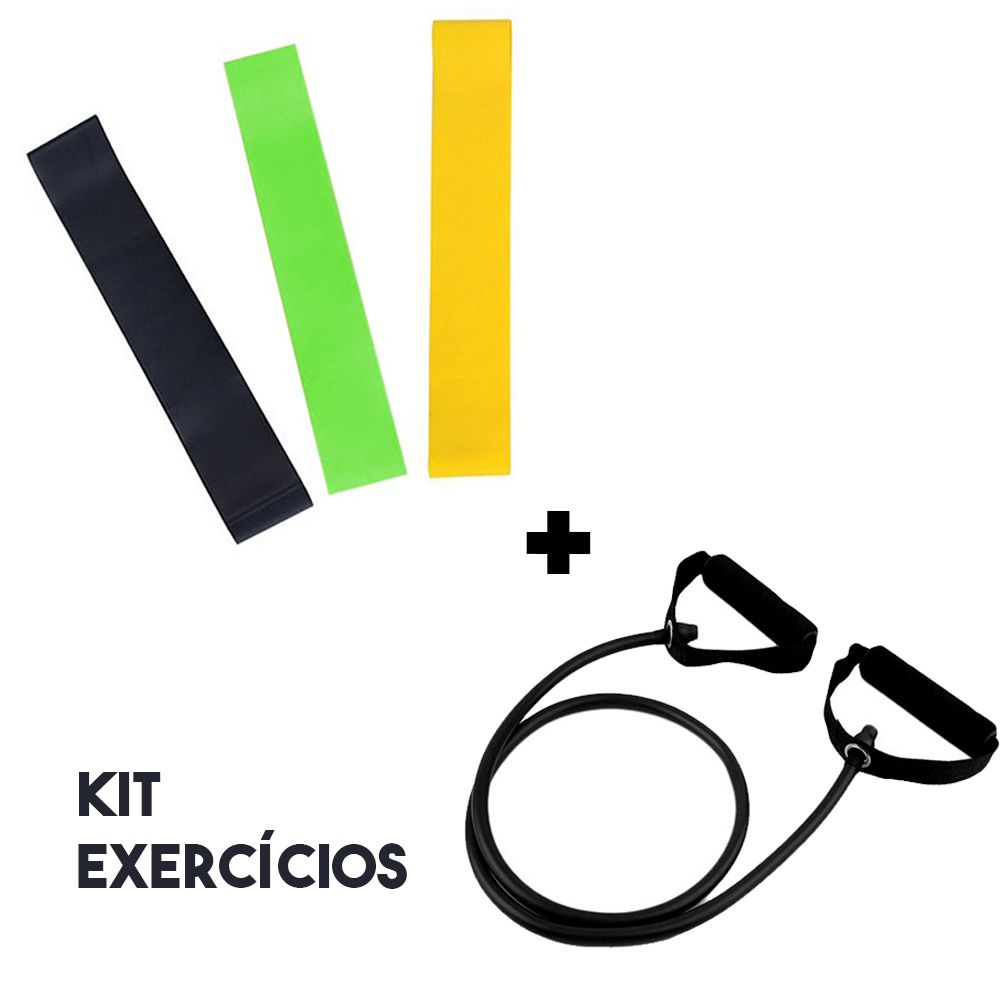 Kit 3 Faixas Latex Exercicios Band Ginastica + Elastico Fitness Extensor