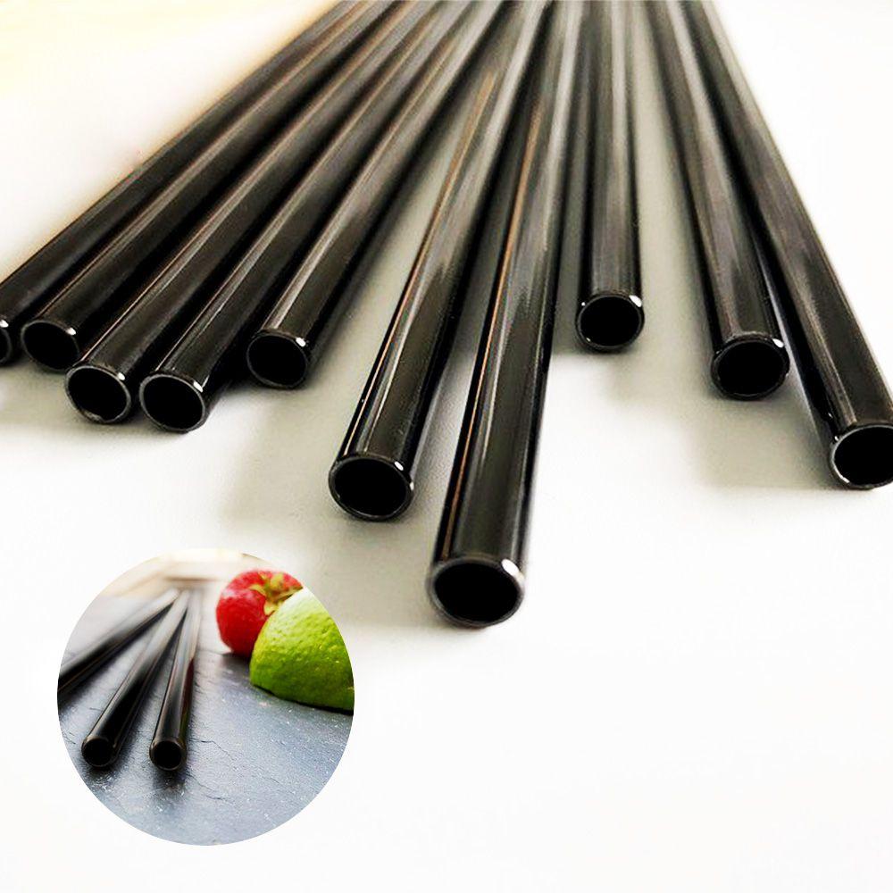 kit 4 Canudos Pretos Metal Inox Reutilizáveis Eco 1 Escova