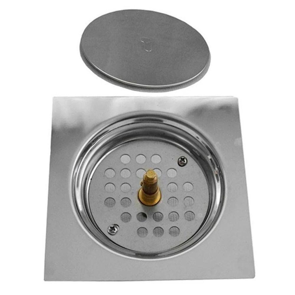 Kit 4 Ralos Click Inteligente 15x15 Aço Inox Pop Up Banheiro Lavabo Casa